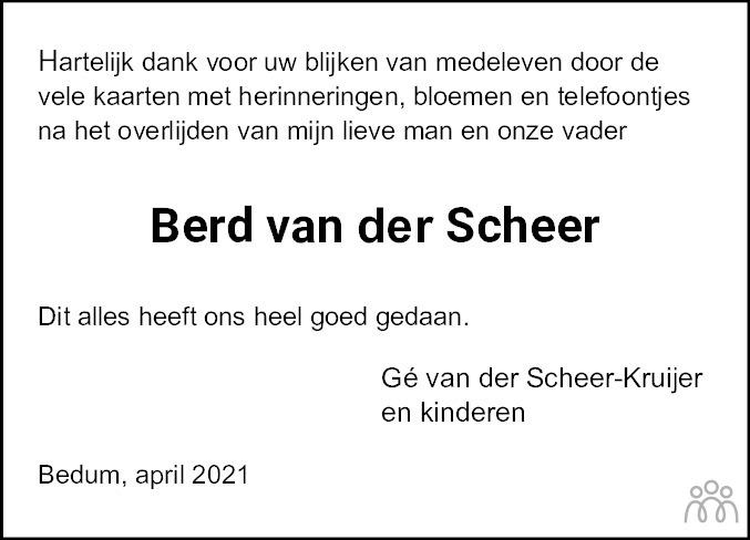 Overlijdensbericht van Berend (Berd) van der Scheer in Dagblad van het Noorden