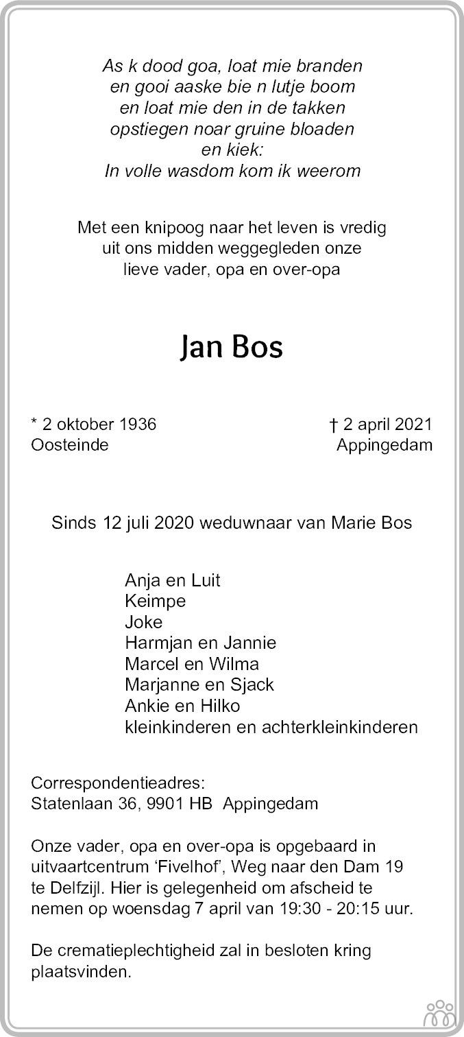 Overlijdensbericht van Jan Bos in Dagblad van het Noorden