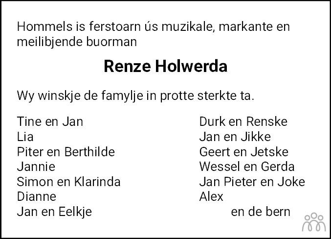 Overlijdensbericht van Renze W. Holwerda in Nieuwsblad Noordoost-Friesland