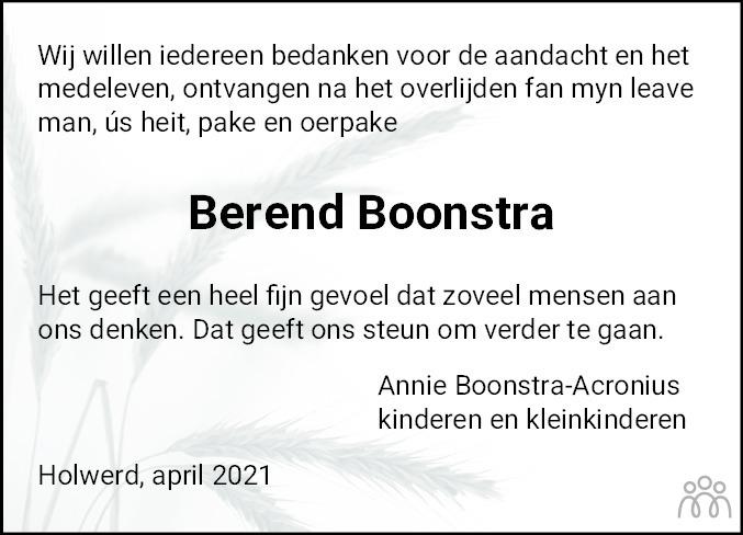 Overlijdensbericht van Berend Boonstra in Nieuwsblad Noordoost-Friesland