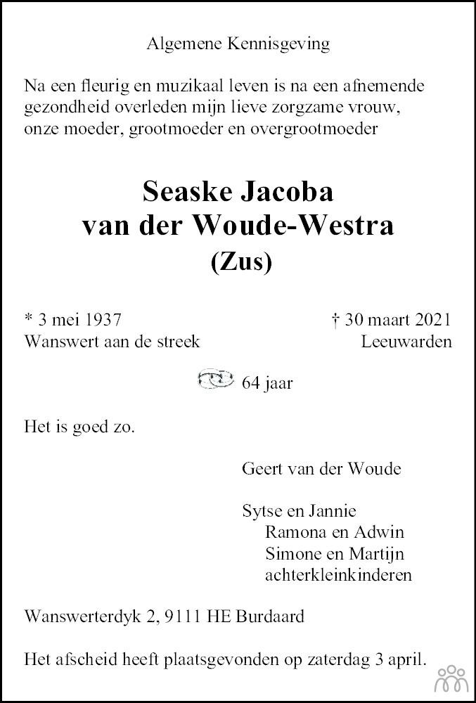Overlijdensbericht van Seaske Jacoba (Zus) van der Woude-Westra in Dokkum Kollum Combinatie