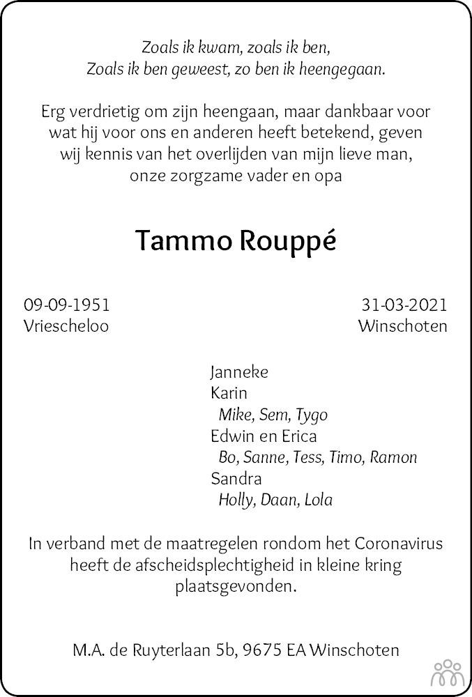Overlijdensbericht van Tammo Rouppé in Dagblad van het Noorden