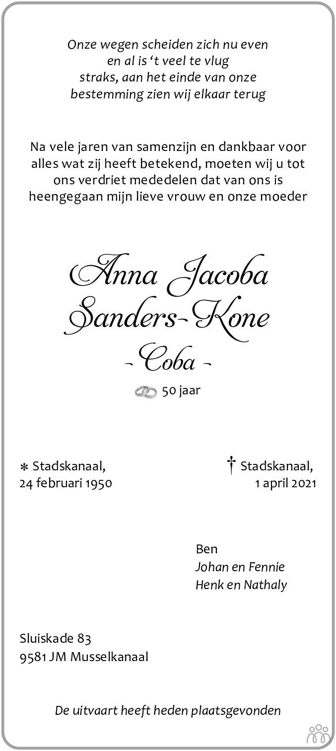 Overlijdensbericht van Anna Jacoba (Coba) Sanders-Kone in Kanaalstreek/Ter Apeler Courant