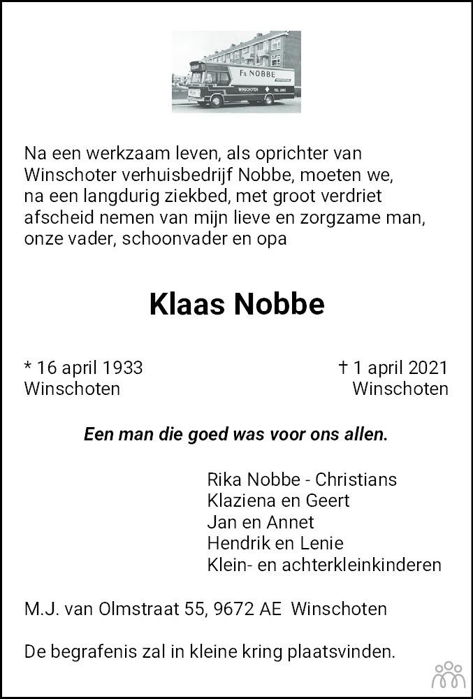 Overlijdensbericht van Klaas Nobbe in Streekblad/Pekelder Streekblad