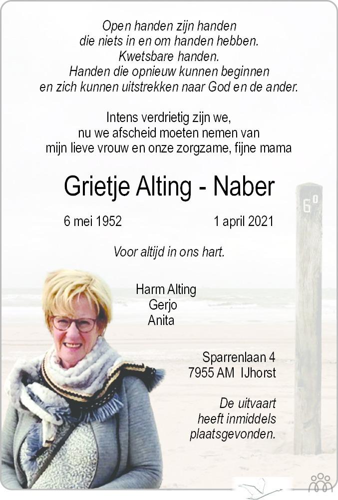 Overlijdensbericht van Grietje Alting-Naber in Meppeler Courant