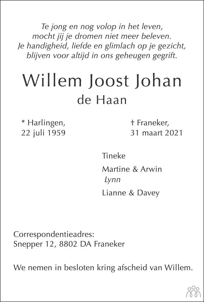 Overlijdensbericht van Willem Joost Johan de Haan in Franeker Courant