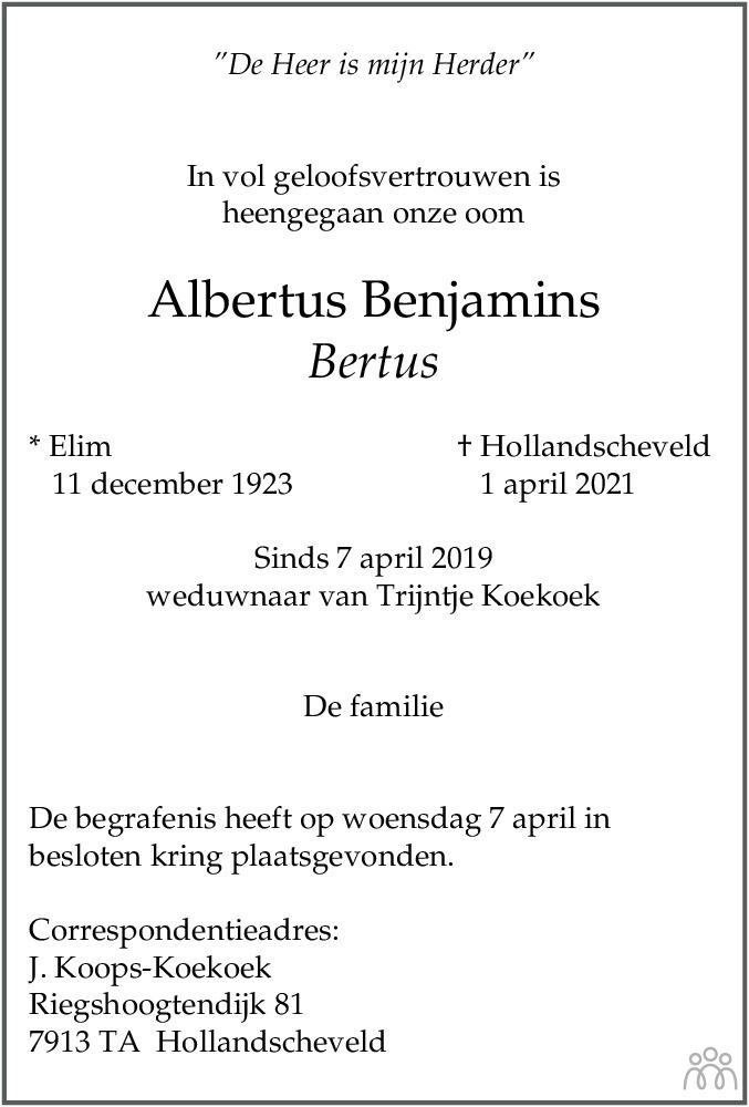 Overlijdensbericht van Albertus (Bertus) Benjamins in Hoogeveensche Courant