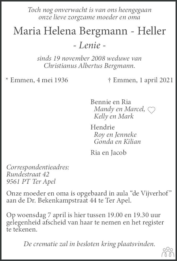Overlijdensbericht van Maria Helena (Lenie) Bergmann-Heller in Dagblad van het Noorden