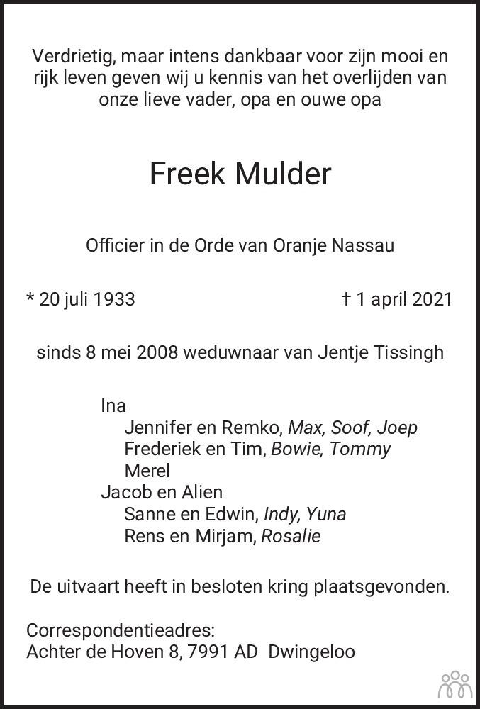 Overlijdensbericht van Freek Mulder in Meppeler Courant