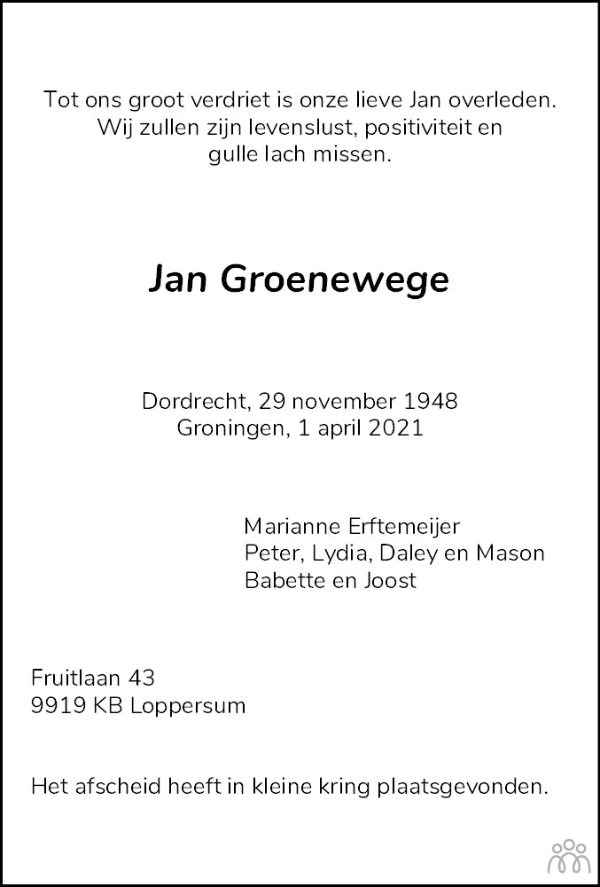 Overlijdensbericht van Jan Groenewege in Eemsbode/Noorderkrant