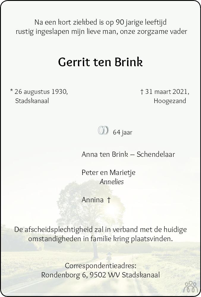 Overlijdensbericht van Gerrit ten Brink in Dagblad van het Noorden