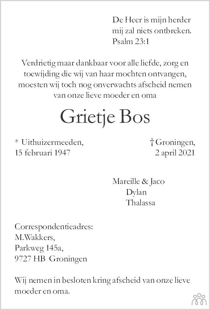 Overlijdensbericht van Grietje Bos in Dagblad van het Noorden