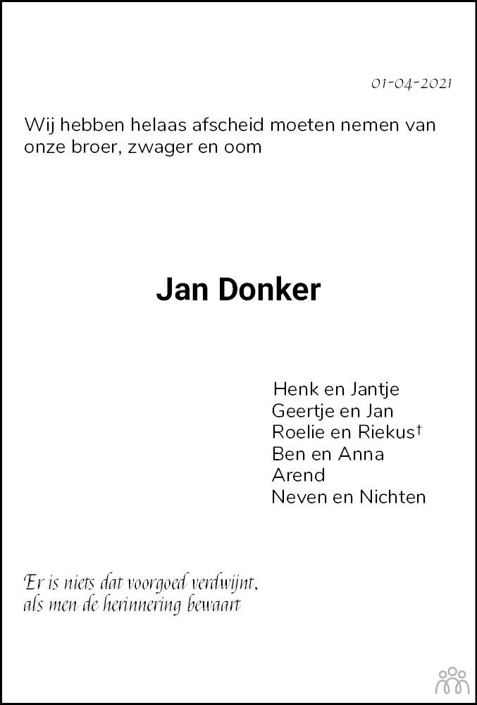 Overlijdensbericht van Jan Donker in Meppeler Courant