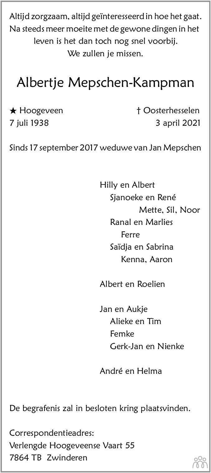 Overlijdensbericht van Albertje Mepschen-Kampman in Dagblad van het Noorden