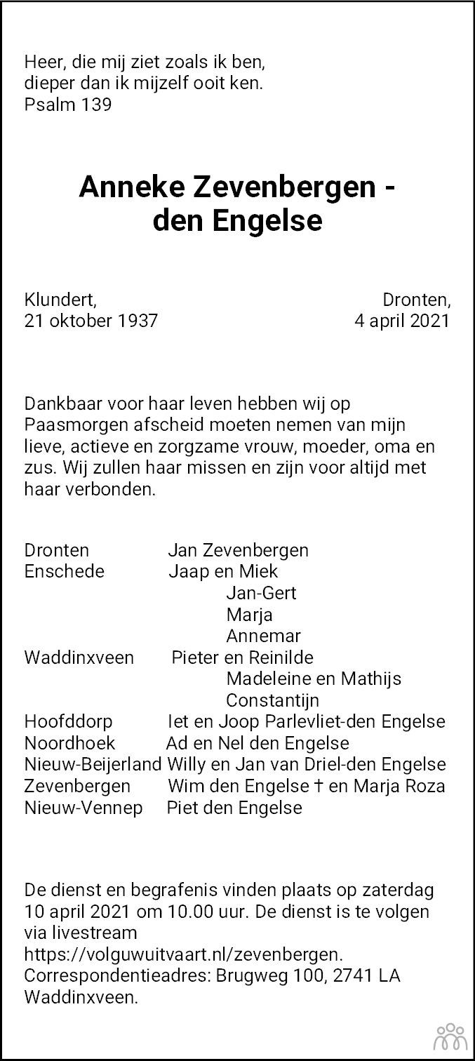 Overlijdensbericht van Anneke Zevenbergen-den Engelse in Flevopost Dronten