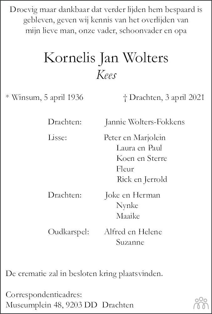 Overlijdensbericht van Kornelis Jan (Kees) Wolters in Dagblad van het Noorden