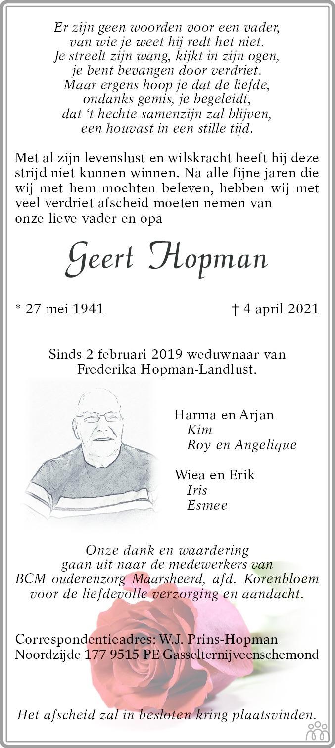 Overlijdensbericht van Geert Hopman in Kanaalstreek/Ter Apeler Courant