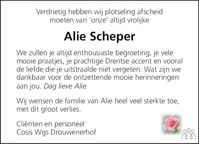 Overlijdensbericht van Aaltje (Alie) Scheper in Kanaalstreek/Ter Apeler Courant