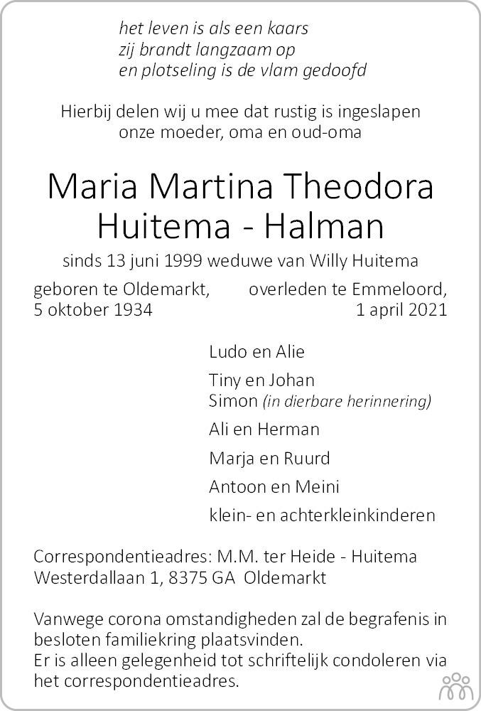 Overlijdensbericht van Maria Martina Theodora Huitema-Halman in Noordoostpolder