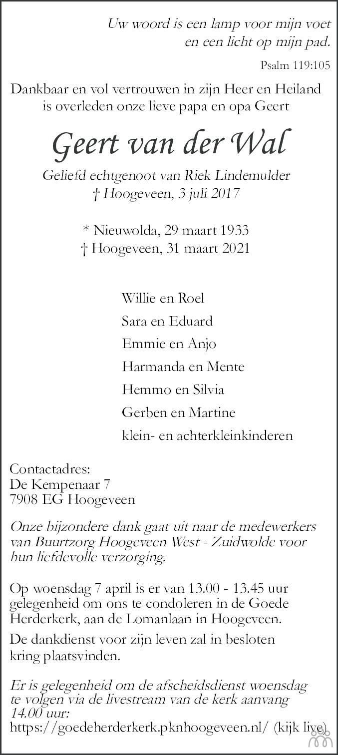 Overlijdensbericht van Geert van der Wal in Hoogeveensche Courant