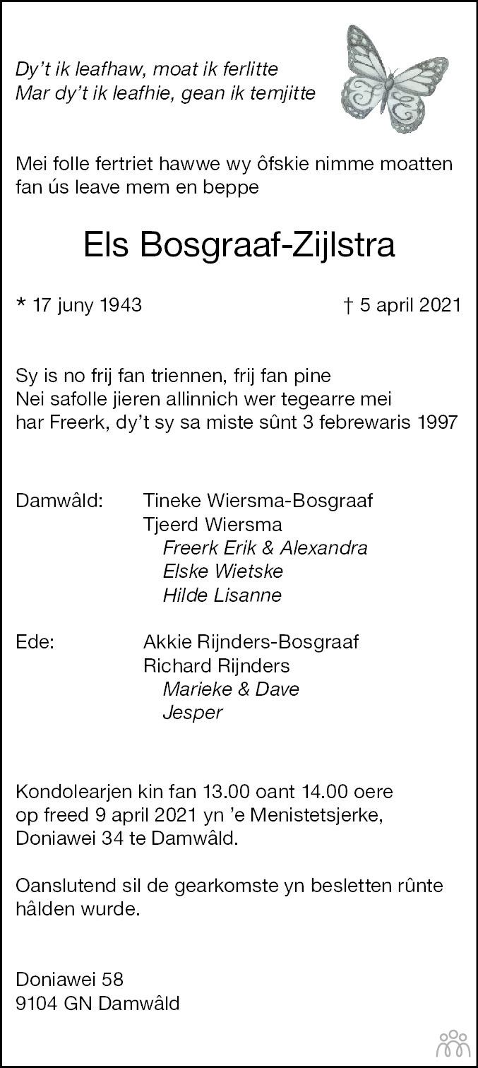 Overlijdensbericht van Els Bosgraaf-Zijlstra in Leeuwarder Courant