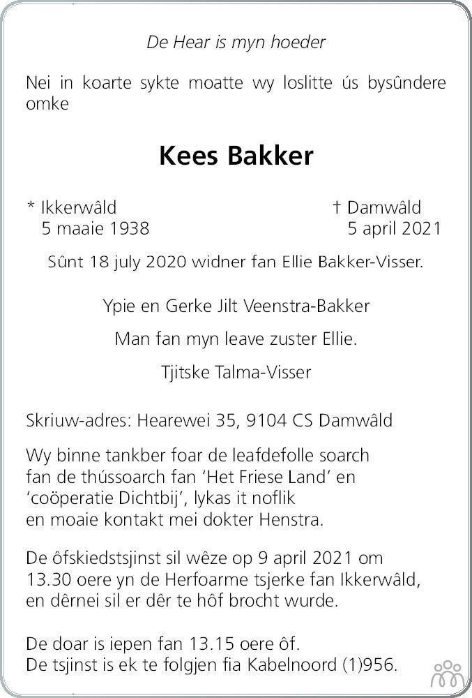 Overlijdensbericht van Kees Bakker in Leeuwarder Courant