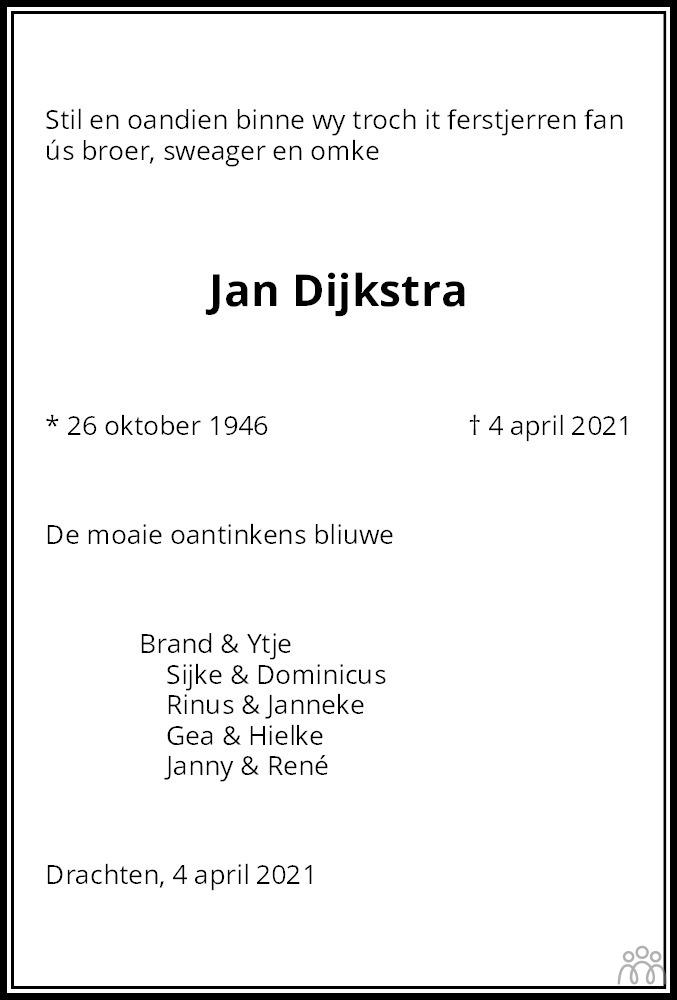 Overlijdensbericht van Jan Dijkstra in Leeuwarder Courant
