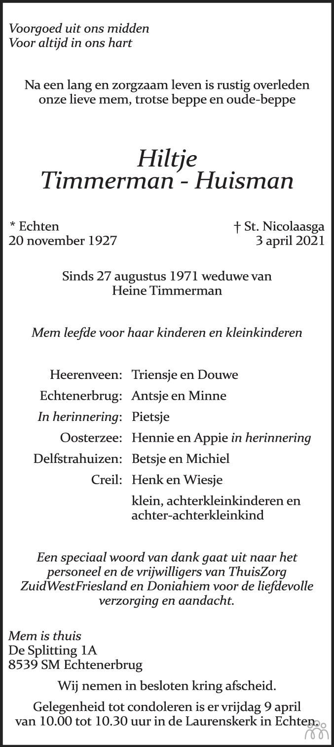 Overlijdensbericht van Hiltje Timmerman-Huisman in Leeuwarder Courant