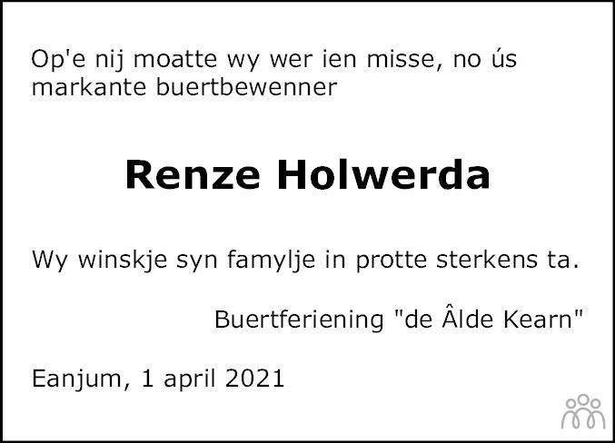 Overlijdensbericht van Renze W. Holwerda in Dokkum Kollum Combinatie