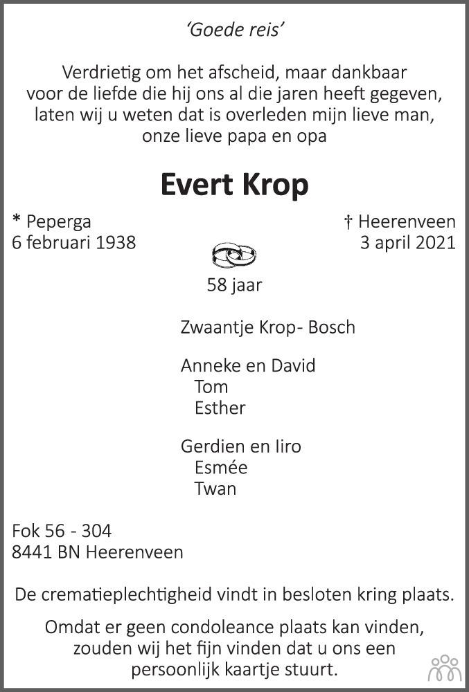 Overlijdensbericht van Evert Krop in Leeuwarder Courant