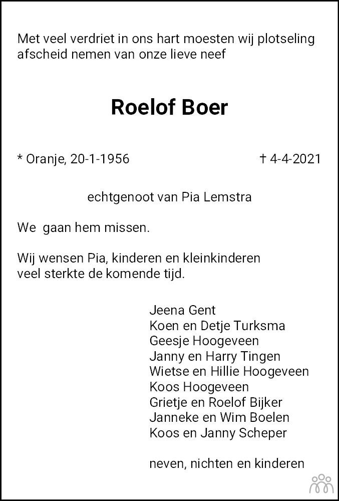 Overlijdensbericht van Roelof Boer in De krant van Midden-Drenthe
