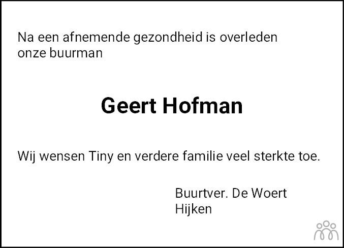 Overlijdensbericht van Geert Hofman in De krant van Midden-Drenthe