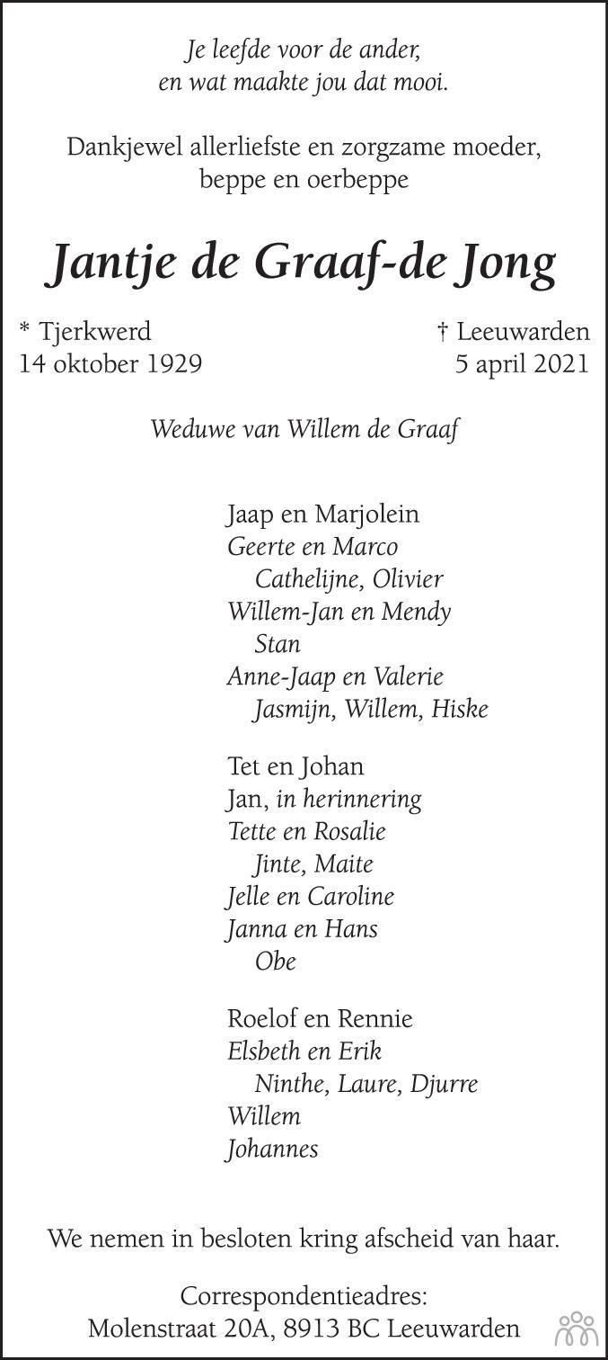 Overlijdensbericht van Jantje de Graaf-de Jong in Leeuwarder Courant
