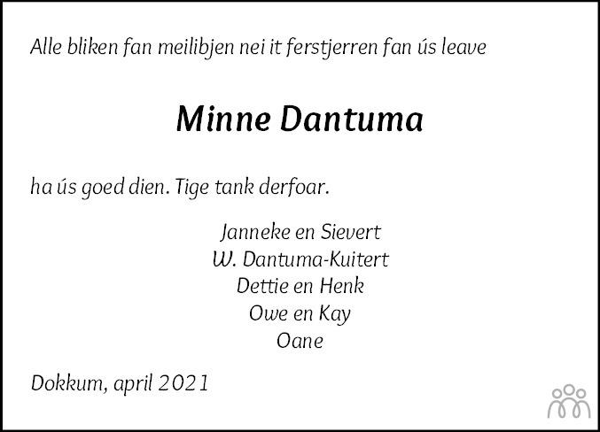 Overlijdensbericht van Minne Dantuma in Dokkum Kollum Combinatie