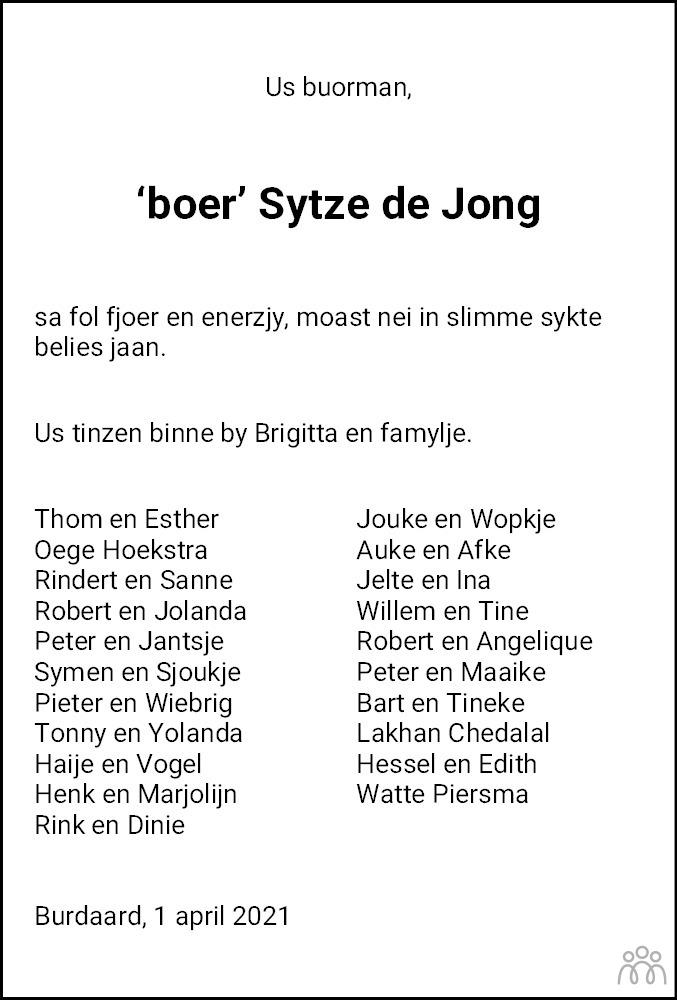 Overlijdensbericht van Sytze de Jong in Leeuwarder Courant