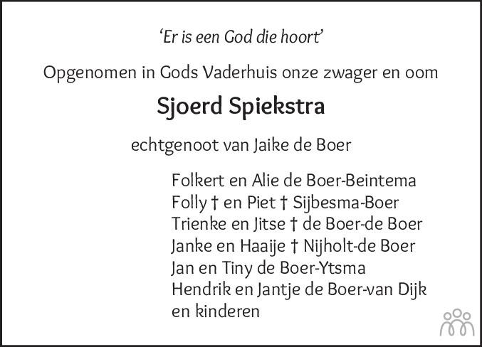 Overlijdensbericht van Sjoerd Spiekstra in Friesch Dagblad