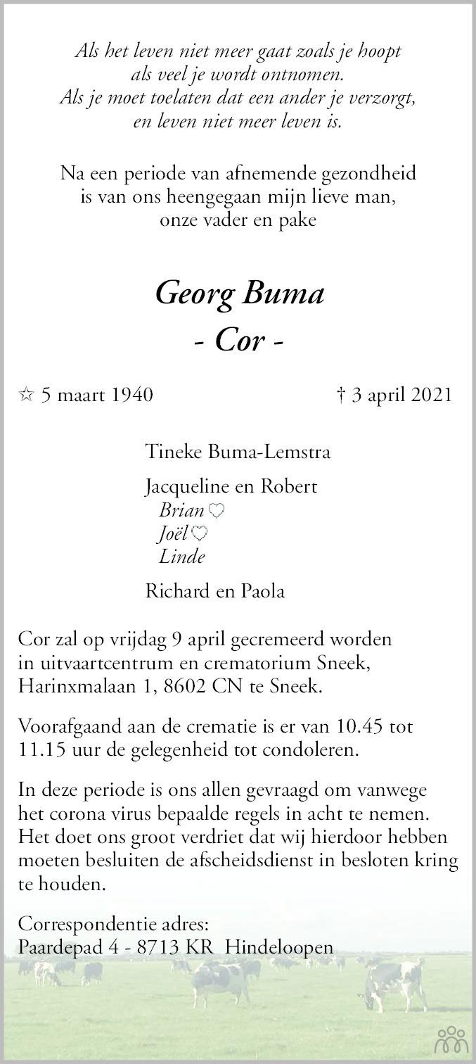 Overlijdensbericht van Georg (Cor) Buma in Leeuwarder Courant