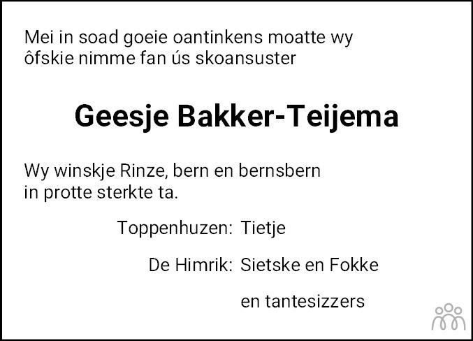 Overlijdensbericht van Geesje Bakker-Teijema in Leeuwarder Courant