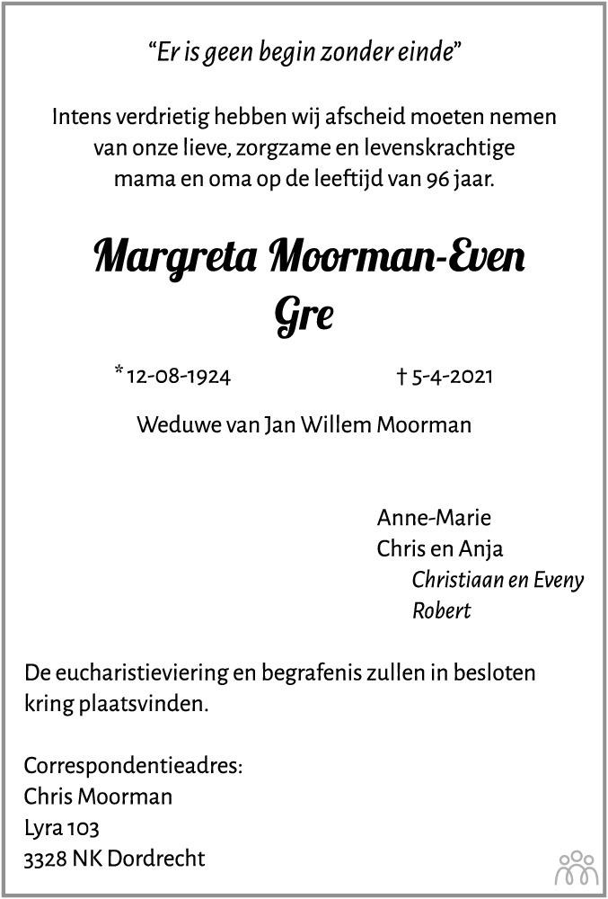 Overlijdensbericht van Margreta (Gre) Moorman-Even in Hoogeveensche Courant