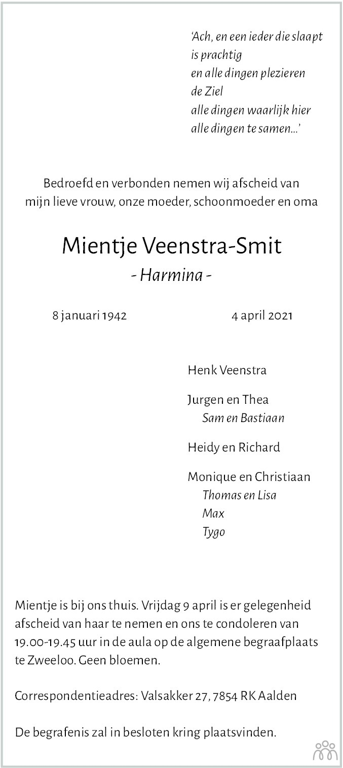 Overlijdensbericht van Mientje (Harmina) Veenstra-Smit in Dagblad van het Noorden