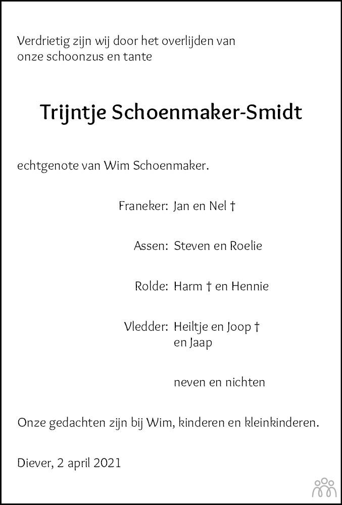 Overlijdensbericht van Trijntje (Trijn) Schoenmaker-Smidt in Meppeler Courant