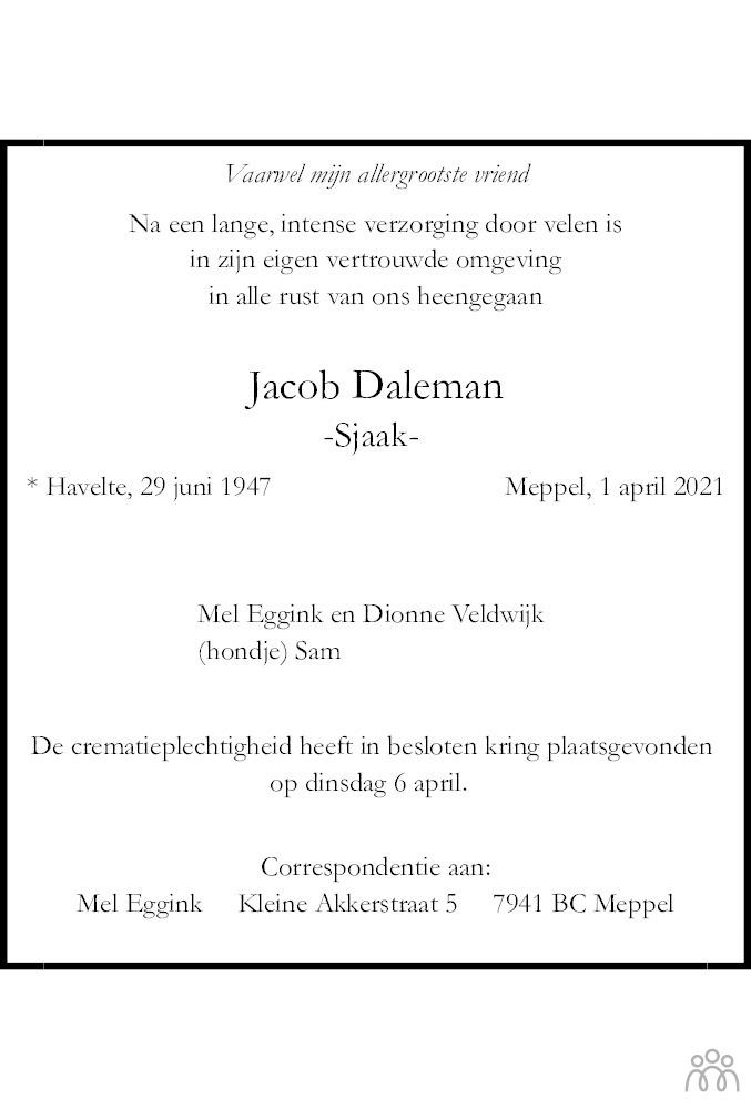 Overlijdensbericht van Jacob (Sjaak) Daleman in Meppeler Courant