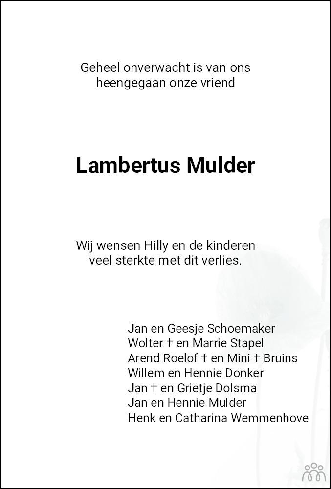 Overlijdensbericht van Lambertus Mulder in Meppeler Courant