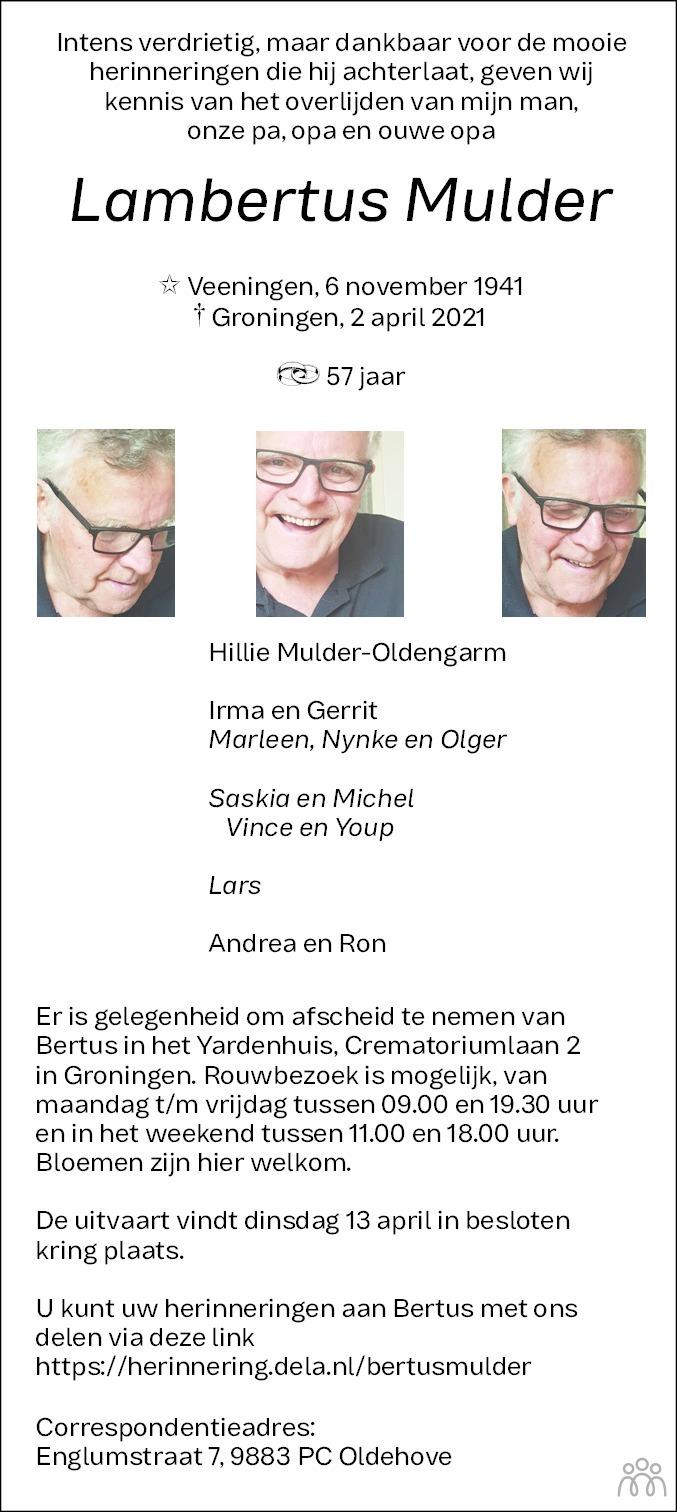 Overlijdensbericht van Lambertus Mulder in Dagblad van het Noorden