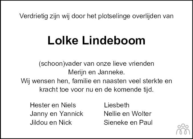 Overlijdensbericht van Lolke Lindeboom in Leeuwarder Courant