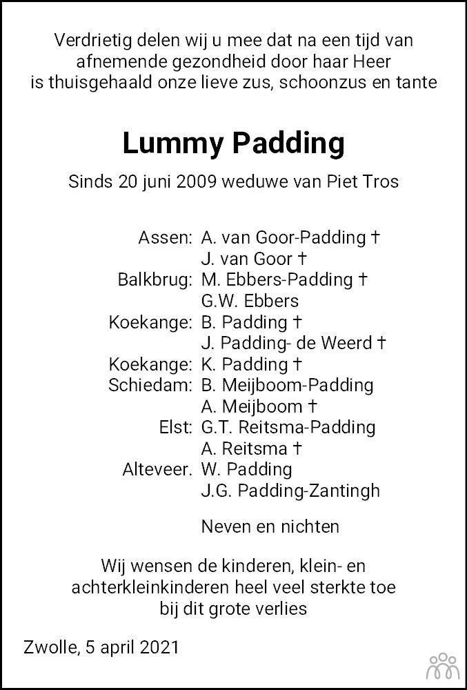 Overlijdensbericht van Lummy Padding in Meppeler Courant
