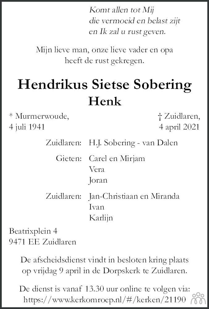 Overlijdensbericht van Hendrikus Sietse Sobering in Dagblad van het Noorden