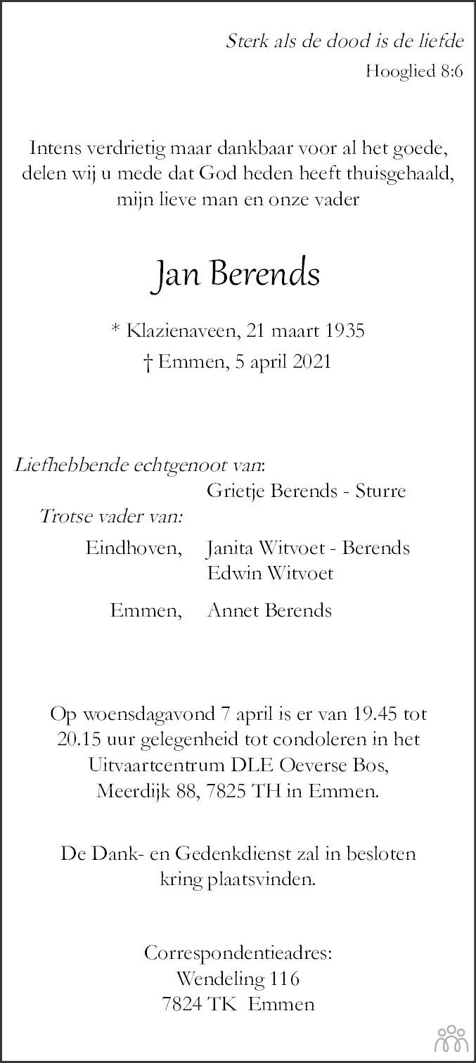Overlijdensbericht van Jan Berends in Dagblad van het Noorden