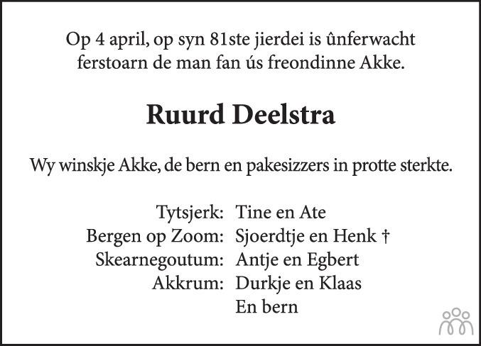 Overlijdensbericht van Ruurd Deelstra in Leeuwarder Courant