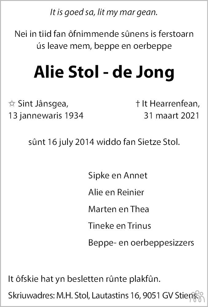 Overlijdensbericht van Alie Stol-de Jong in Heerenveense Courant